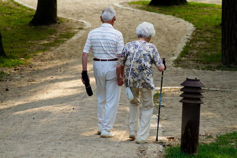 Senior couple walking together