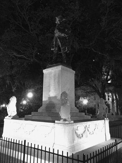 Captain Morgan watching over downtown Savannah. Statue Sculpture Outdoors No People Blackandwhite Monochrome Night 365project