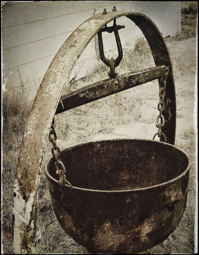 Antique Cauldron Weathered Close-up No People Hanging Cast Iron Old-fashioned IPhoneography Vintage Sepia