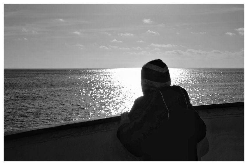 Boat trip Blackandwhite Blackandwhite Photography Blackandwhitephotography Black And White Black And White Photography EyeEm Best Shots - Black + White Shadows & Lights Water Sea Rear View Full Length Sky Horizon Over Water