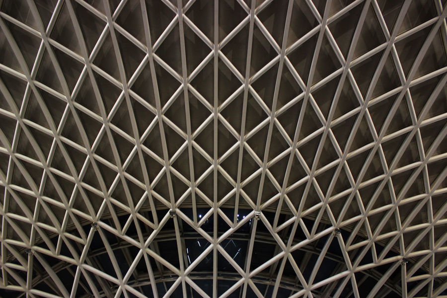 Architectural Design Architecture Backgrounds Built Structure Close-up Contrast Crisscross Darkness And Light Day Full Frame High Angle View Indoors  Light And Shadow No People Outdoors Pattern Roof Symmetry Textured  Train Station Travel Traveling Weird