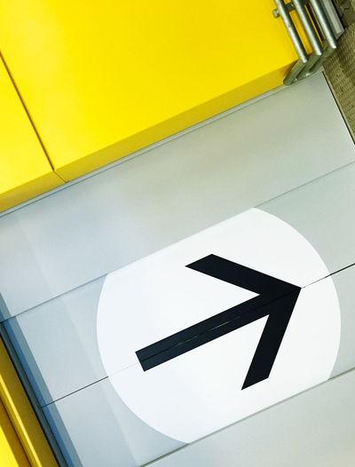 High angle view of arrow sign