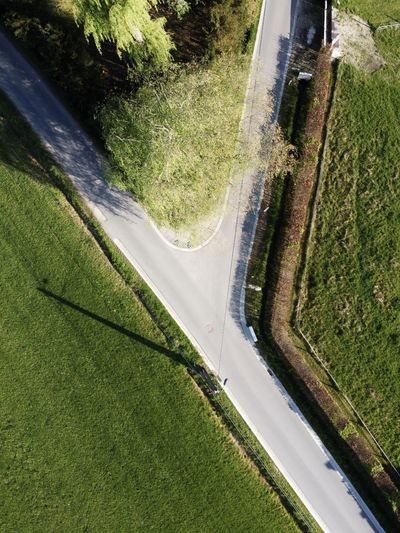 High angle view of road seen through car window