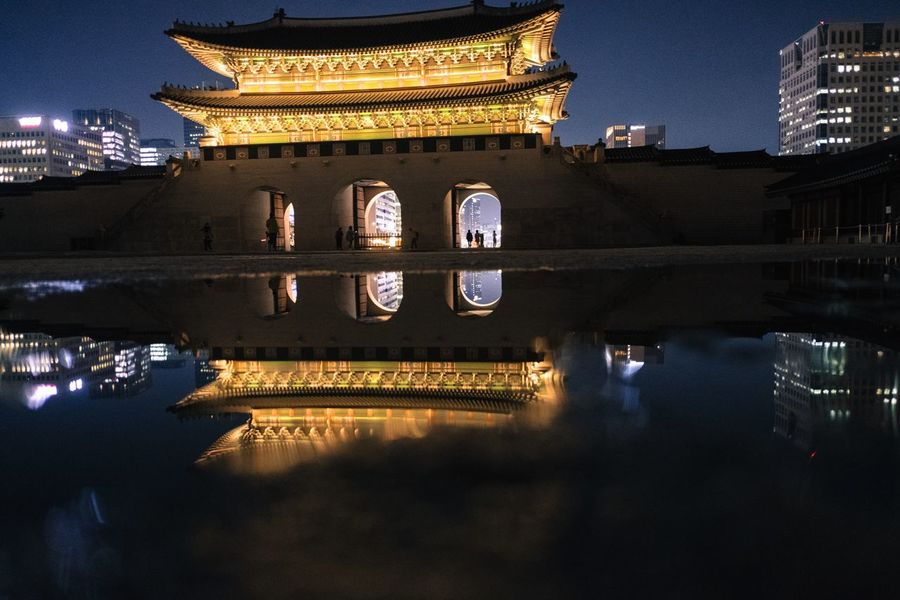 Night Illuminated Architecture Reflection Built Structure Building Exterior Travel Destinations Water Bridge - Man Made Structure Outdoors City Politics And Government No People Cityscape Sky Seoul Seoul, Korea Seoul_architecture Yoonjeongvin