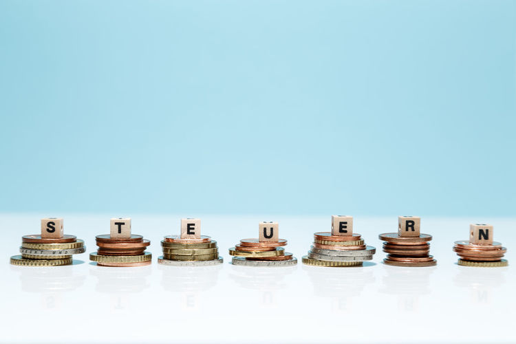 Close-up of objects against blue background