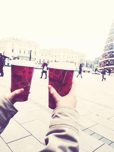 Cracov Poland Winter Happy New Year! Girl Starbucks Walking Around Shopping