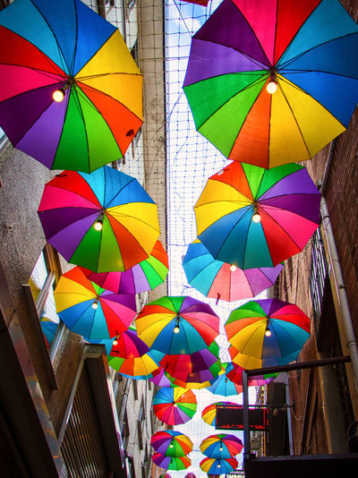 Architecture Building Exterior Built Structure Bunting Close-up Colorful Day Low Angle View Multi Colored No People Outdoors Street Streetphotography Umbrellas