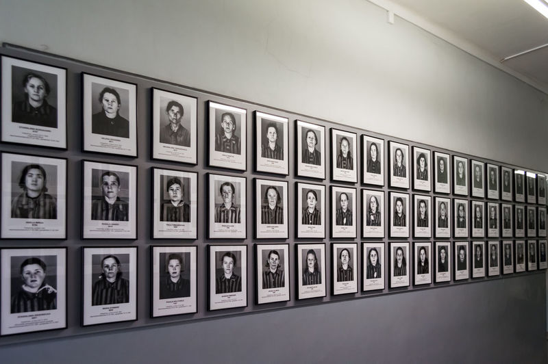 Hundreds of photos of prisoners who lived in the concentration camp of Auschwitz in Oswiecim, Poland. One of the blocks in Auschwitz Birkenau museum. Aushwitz Birkenau Blocks Gypsy Jewish Memorial Photos Poland Real Travel Concentration Hitler ✌ Holocaust Indoors  Landmark Museum Nazism Oswiecim People Photographs Pictures Prisoners Tourism Visiting Camp
