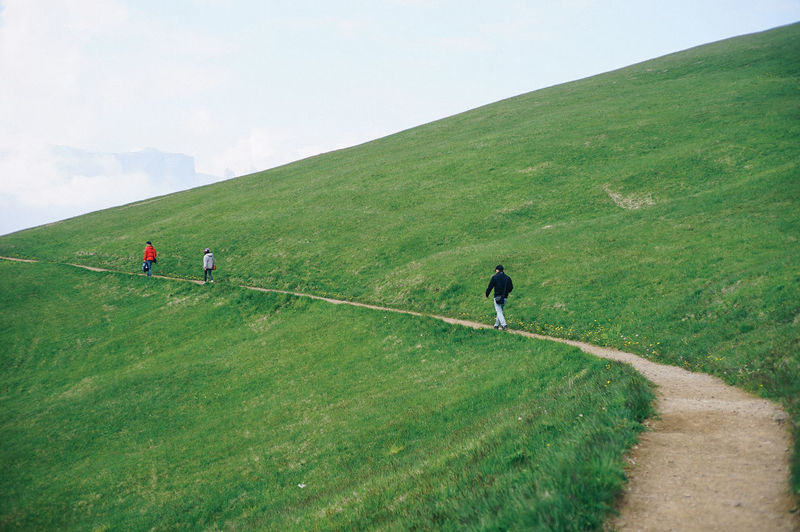 Dolomite Italy Leisure Activity Grass Green Color Day Nature Rear View Men People Real People Beauty In Nature Sky Mountain Walking Full Length Activity Group Of People Plant Lifestyles Land Scenics - Nature Outdoors Italy Landscape_Collection Landscape_photography Curve