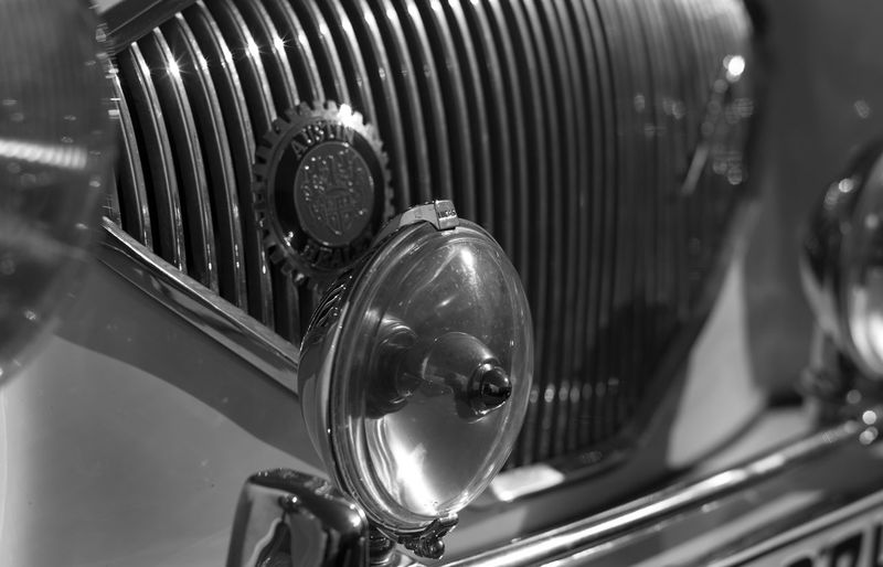 Black And White Close-up Details Healey Metal No People