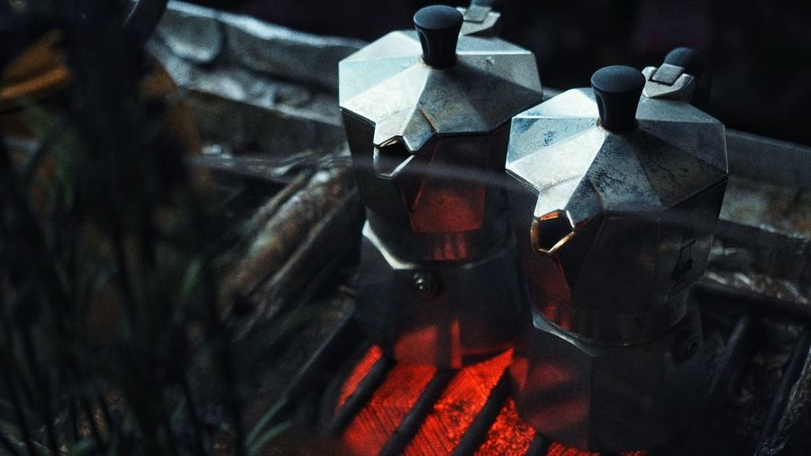High Angle View Of Moka Pots On Barbeque Grill