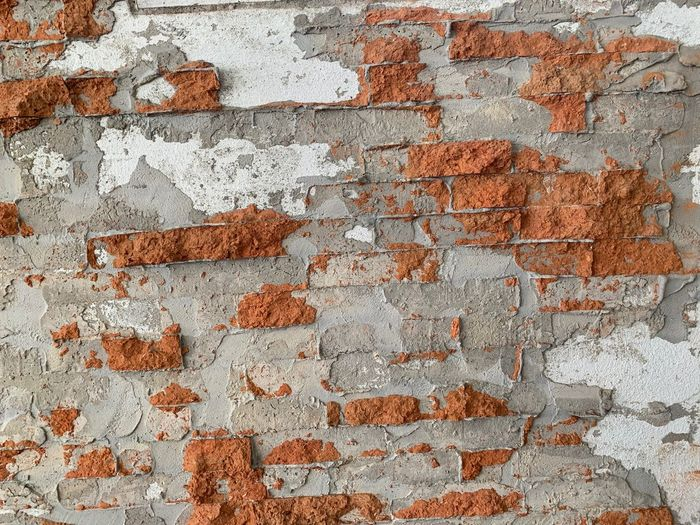 Brick Wall Brick Wall - Building Feature Wall Built Structure Architecture Full Frame Backgrounds Textured  No People Weathered Old Pattern Day Damaged Rough Outdoors Bad Condition Deterioration Decline Cement Concrete