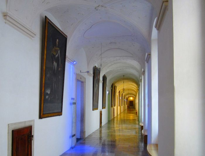 Absence Arch Architectural Column Architectural Feature Architecture Building Built Structure Column Corridor Day Diminishing Perspective Empty Illuminated In A Row Interior Melk Abby In Melk, Austria Narrow No People Repetition The Way Forward Vanishing Point