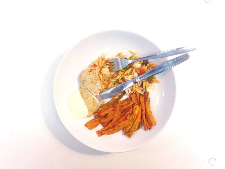 Early lunch. Sweet Potatoes Salad Chicken Yum In My Mouf Food Porn Lunch My Lunch Brings All The Boys To The Yard PS I Made This