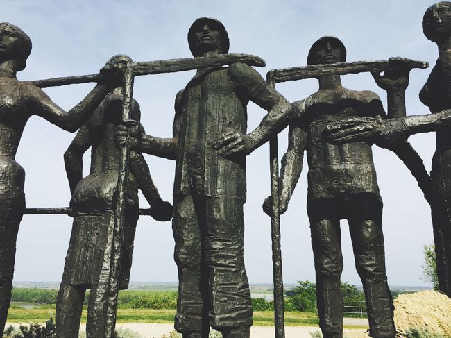Sky Strength Low Angle View Statue Standing Agrarian Scythe Iron Iron Statue Monument