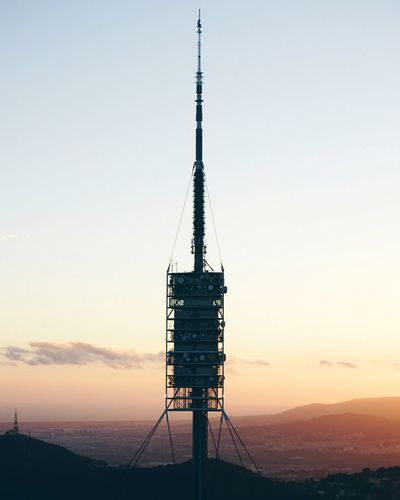 Torre de Collserola, Barcelona Sunset Silhouette Sky Tower Electricity  Clear Sky No People Landscape Nature Outdoors Barcelona Technology Business Finance And Industry Antenna - Aerial Telecommunications Equipment Electricity Pylon Day First Eyeem Photo