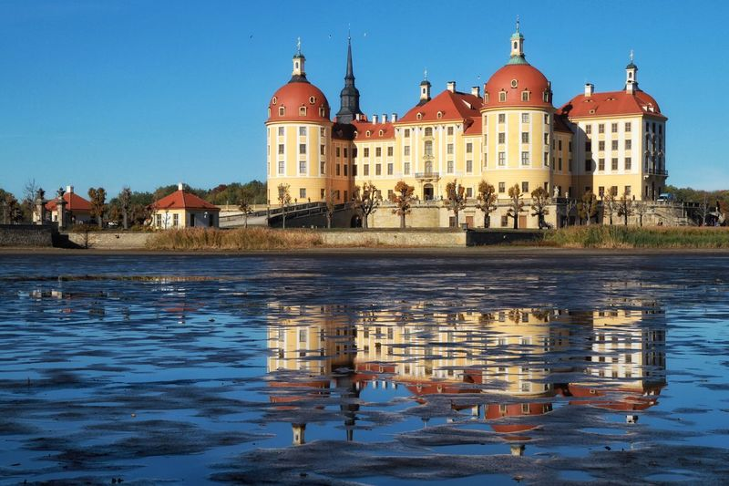 Schloss Moritzburg Built Structure EyeEm Nature Lover Germany Outdoors EyeEmNewHere EyeEmBestPics EyeEm Best Shots Outdoors EyeEm Building Exterior Architecture Built Structure Water Building Reflection Religion Sky Nature City Place Of Worship Waterfront Travel Destinations Clear Sky Belief Dome No People Outdoors Canal