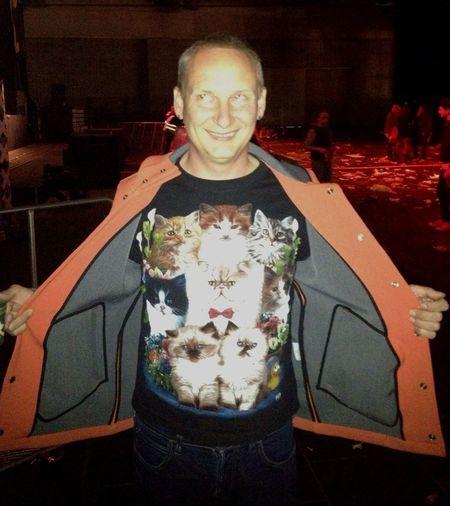Paul from Orbital w/ kitty shirt