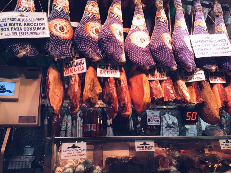 SPAIN Store Display Business Store Dried Meat Dried Food Tasty Display Spanish Bones Speciality Meat Love Delicious Jamón Ibérico Jamon Serrano Food Photography Ibérico Kilo Weight Price Spanish Food Delicatessen Ham Deli Bone
