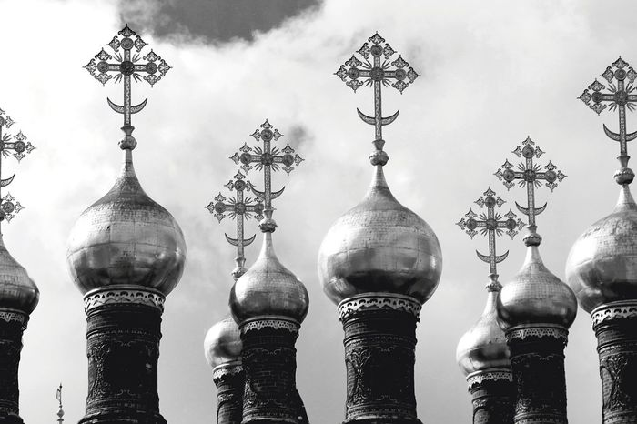 Blackandwhite Photography Black And White Photography Black And White Collection  Religion Dome Travel Destinations Tourism Spirituality Architecture Outdoors No People Sky Close-up Spirituality Place Of Worship Cloud - Sky History Politics And Government Kremlin Architecture Russia Russia Moscow, Russia Moscow Kremlin Kremlin Complex Crosses