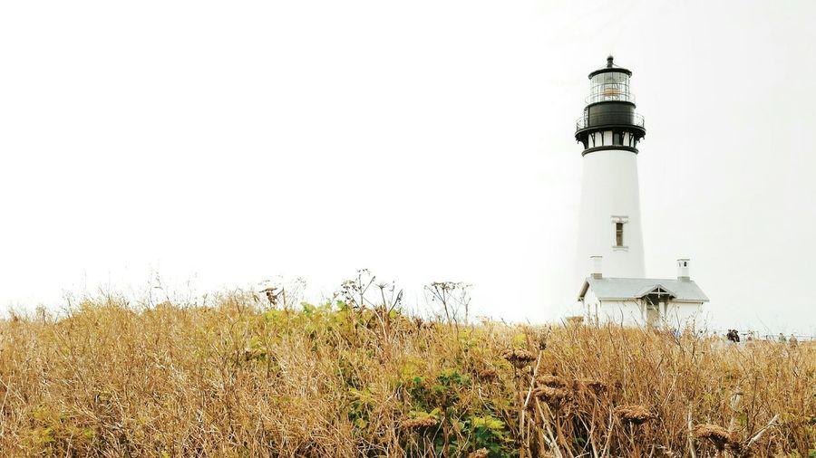 Lighthouse on field against sky