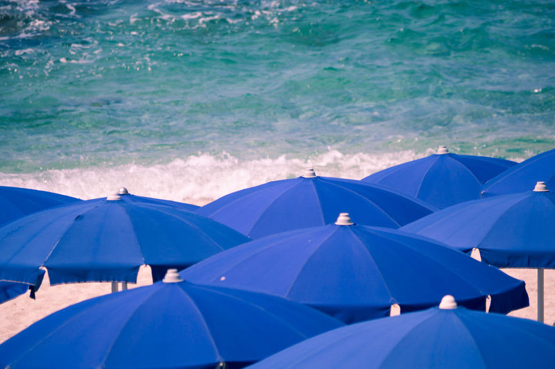 Background Beach Blue Blue Umbrellas Closeup Coast Concept Foam Holiday Landscape Lifestyle Many Objects Ocean Outdoor Pattern Resort Sea Seaside Summer Tide Tropical Umbrella Vacation Water