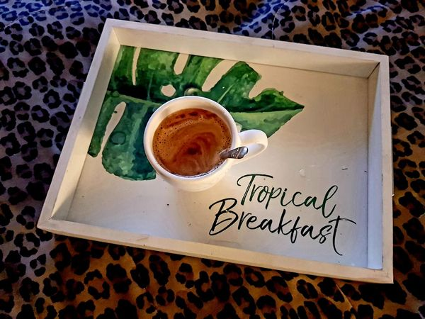 Early fix Happiness Breakfast In Bed Daylight Photography Monstera Deliciosa Coffeeaddict Early Morning Hygge Drink Love High Angle View Coffee Black Coffee