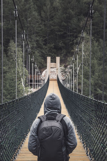 Rear view of footbridge amidst trees in forest