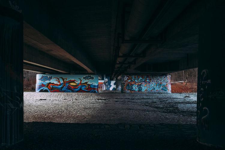 Graffiti on wall of tunnel