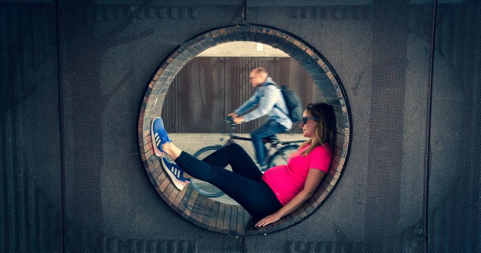 People sitting in mirror