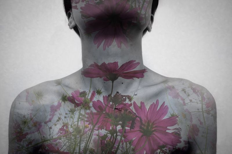 Flower Body Part Art Plant Flower Flowering Plant Vulnerability  Fragility One Person White Background Lifestyles Freshness Indoors  Close-up Nature Front View Beauty In Nature Flower Head Young Women Standing Waist Up Young Adult Digital Composite