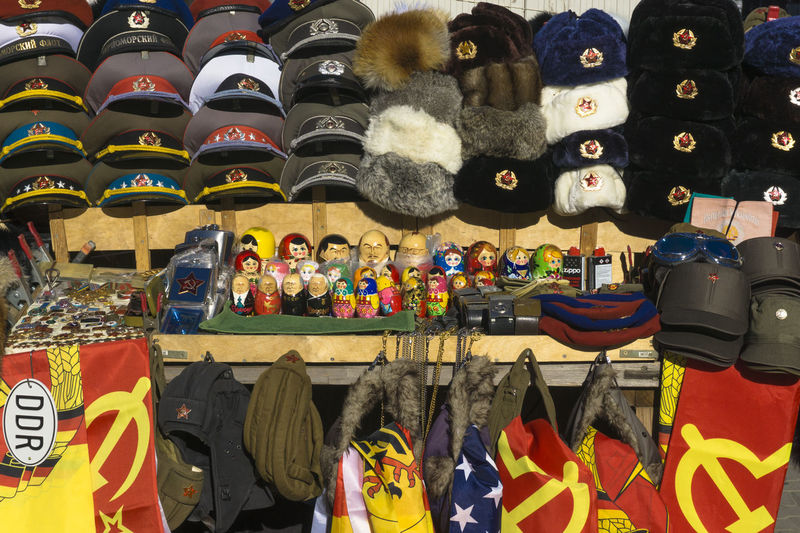 Stand with memorabilia form former communist East-Germany in Berlin, Germany Berlin Color Image Day East-Germany For Sale GDR German Democratic Republic Germany🇩🇪 Horizontal Large Group Of Objects Memorabilia Multi Colored No People Outdoors Photography Retail  Soviet Era