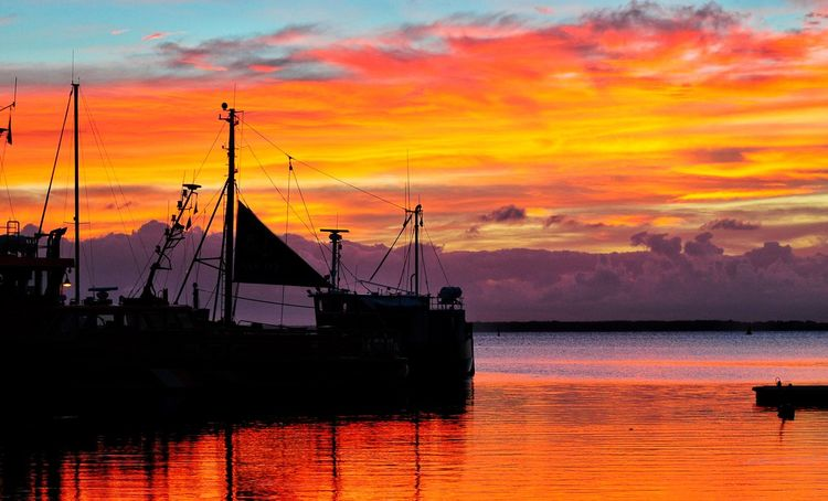 Bluehour Ostsee Reflection Bluehour Tranquility Sunrise Water Idyllic Sailboat Outdoors Silhouette No People Waterfront Tranquil Scene Orange Color Sky Cloud - Sky Sea EyeEmNewHere
