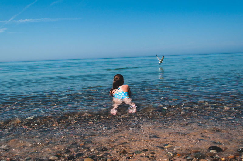 Beach Beauty In Nature Bird Blue Sky Girl Lake Outdoors Sand Sea Seagulls Summer Water