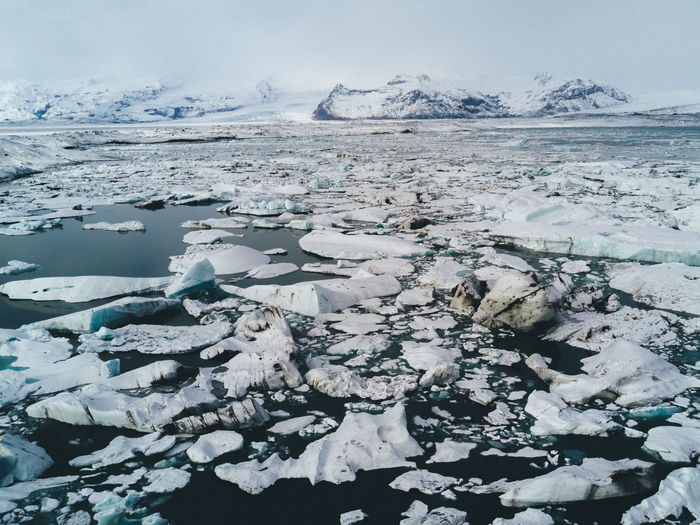 Glacier lagoon in Iceland Beauty In Nature Close-up Cold Temperature Day Flat Frost Frozen Glacier Ice Iceberg Lake Landscape Mountain Nature No People Outdoors Scenics Sky Snow Tranquil Scene Tranquility Water Winter