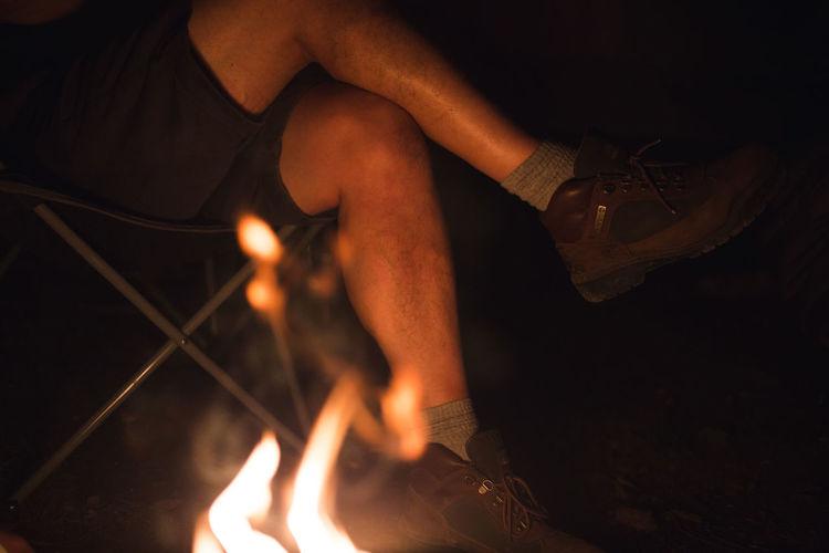 Camper sits by
