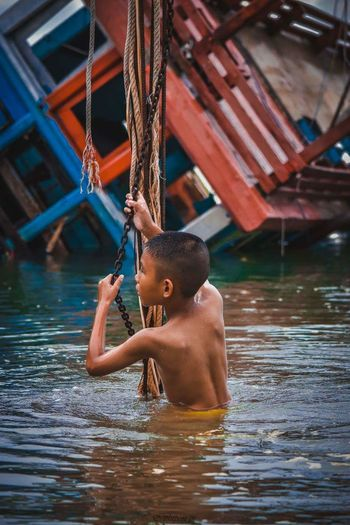 Water Child Swimming Childhood Happiness Back Sitting Summer Beauty Smiling