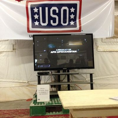 Chilling watching tv for a bit at the USO