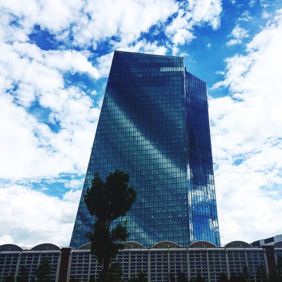 Architecture Low Angle View Built Structure Building Exterior Tall - High Modern Tower Skyscraper Office Building City Tall Cloud Outline Outdoors Day Building Story Development Cloud - Sky Place Of Work Europeancentralbank EuropäischeZentralbank Frankfurt Am Main Frankfurt Ecb EZB