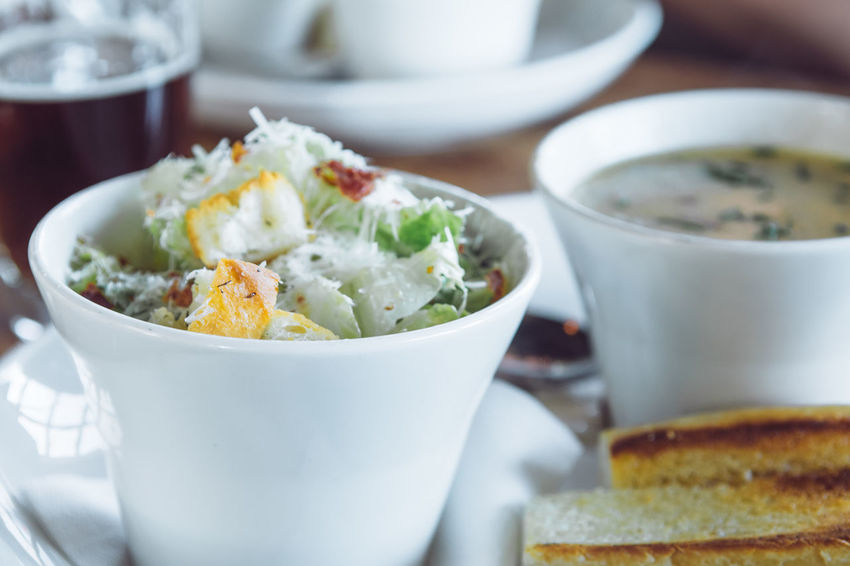 ceasar salad and soup of the day Ceasar Salad Ready To Eat Bowl Close-up Day Food Food And Drink Freshness Healthy Eating Indoors  Indulgence No People Plate Ready-to-eat Restaurant Serving Size Soup Vegetable