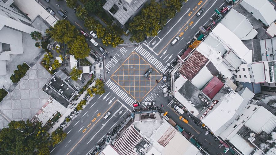 City Architecture Building Exterior Aerial View Cityscape Built Structure High Angle View Downtown District Street Modern Roof Road Intersection Road Directly Above City Street Town Outdoors Above Business EyeEmNewHere