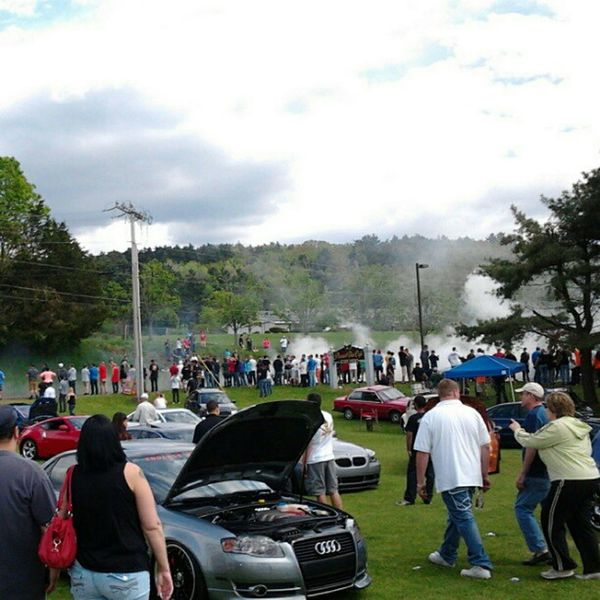 Everyone watching people do burnouts before leaving Staggered 2012 Volkswagen Burnouts Audis Hondas