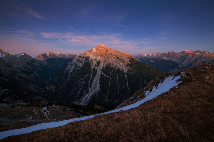 Glowing Peak Karwendel Alpine Glow Alpine Hiking Alpine Landscape Beauty In Nature Dusk Evening Glow Landscape Last Light Mountain Mountain Peak Mountain Range Nature No People Non-urban Scene Outdoors Scenics - Nature Sky Sunset Tranquil Scene Tranquility