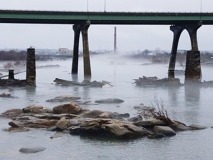 Foggy Point Bridge - Man Made Structure Built Structure Water Fog Landscape Reflection Connection Business Finance And Industry Architectural Column Scenics Architecture Social Issues Tranquility Beach Travel Destinations Nature Outdoors Horizon Low Tide Urban Skyline