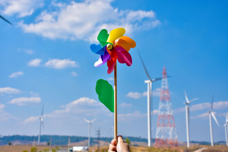 Colorful windmill with blue sky