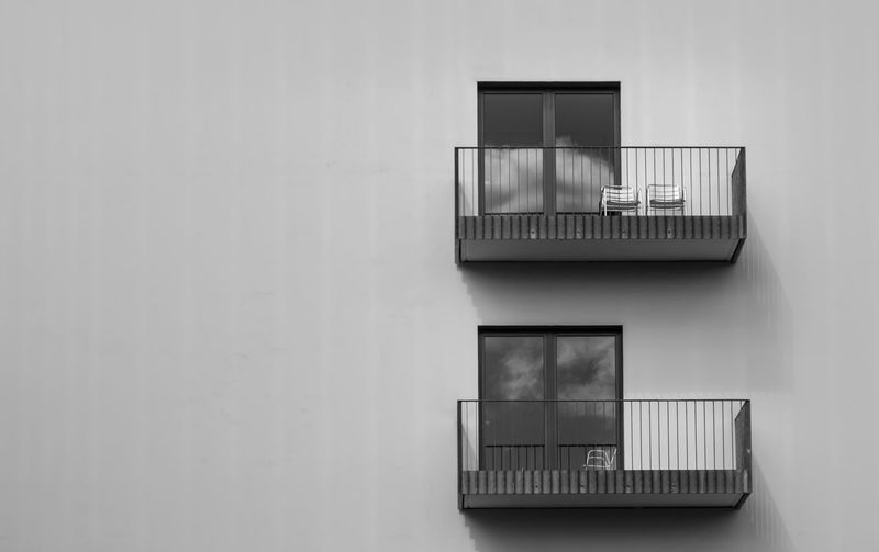 Air Duct Architecture B&w Balcony Black And White Building Exterior Built Structure City Life Day Exterior Geometric Shape No People Railing Rectangle Residential Building Wall - Building Feature Window