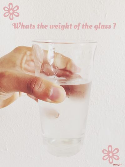 Weight is the gravitation force that is acting on an object. Whether you've have a full glass, half glass of water or even an empty glass won't make the absolute weight to be too drastic, force acting on it won't be too different. If that's the case then I would say it's not about how much you hold rather how you hold it? If I hold the glass for three minutes it'll be perfectly okey for me, if I hold it for couple of hour my hand will feel weary; starts to ache. If try to hold it for days my hands won't be able to withhold it, My hands become numb, lack of interest and won't even know the whole mystery behind it. Comparatively, that's what happens when we try to change ourselves, when we try to be self-righteous; holy by our own works. The task will seem heavy, boring, and depressive. Christian life is a life totally relying on Jesus Christ, His grace at all times. What transforms us is His relentless love in the Holy Spirit. That will teach us to rejoice always by trusting in Him. Only the Holy sprit can give us the power to crucify the desires of the flesh, otherwise we'll be trying to hold a glass that we're gonna loose hold off. Guys ask Jesus for strength, steadfastness, and persistence. Ultimately, the one who carried the cross is the only able one to help you to carry your own crosses. KnowHim SeekGodFirst AskGod Jesus Will Provide Strength Holy Spirit Equipe ARMOR OF GOD Cross