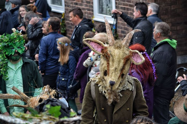 Jack In The Green Festival Hastings East Sussex May Day 2017 Jack In The Green Horns Rams Head Headwear Headdress Lifestyles Traditional Festival Arts Culture And Entertainment Large Group Of People Parade Outdoors Tradition Pagan Festival Pagan Green Color Masks Carnival Celebration Traditional Clothing Rural Scene Tradition