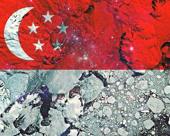 My reinterpretation of Singapore flag using satellite photos of the world... inspired by artist Max Serradifalco project Flag Country Singapore Singaporean Singaporeairlines Red White Mycountry Creative Design Art Satellitephoto Instagram Instaphoto Instaart