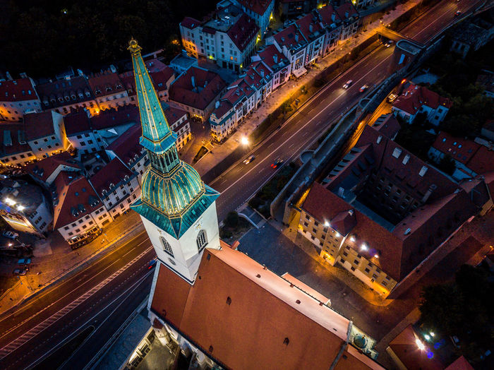 St Martin's Cathedral in Bratislava Cathedral Church Crown Monarchy Slovakia Aerial Architecture Bratislava Building Exterior Built Structure City Cityscape Coronation  High Angle View Illuminated Night Nightshot No People Outdoors Sky St Martins Church Travel Destinations